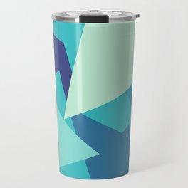 Retro Blue Mid-century Minimalist Geometric Line Abstract Art Travel Mug
