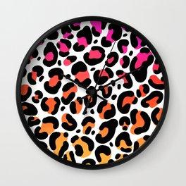 Rainbow Ombre Leopard Print Pattern Wall Clock