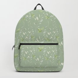 Mint green watercolor hand painted floral leaves Backpack