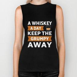 Whiskey a day keep grumpy away Biker Tank