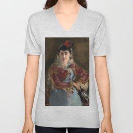 """Édouard Manet """"Portrait of Émilie Ambre as Carmen"""" Unisex V-Neck"""