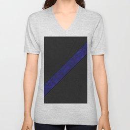 Geometric contemporary black leather navy blue paper stripe Unisex V-Neck