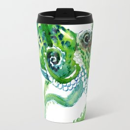 Beach art, green Octopus, sea world, aquatic nautical octopus art Travel Mug