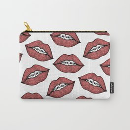 Cute Red Lips and Braces Hand Drawn Illustration Carry-All Pouch