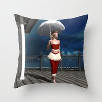 scandal Throw Pillows featuring Victorian summer scandal by Britta Glodde