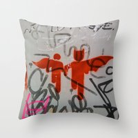 super heroes Throw Pillows featuring Super Heroes by Mauricio Santana