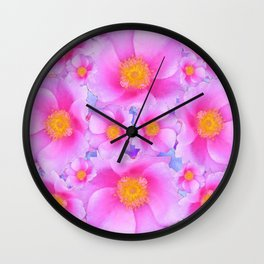 Fuchsia Pink Clustered Rose Garden Art Wall Clock