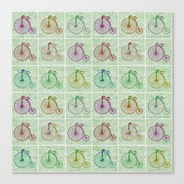 Penny Farthing Vintage Pastel Green Repeat Pattern Canvas Print