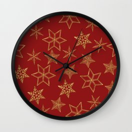 Snowflakes Red And Gold Wall Clock