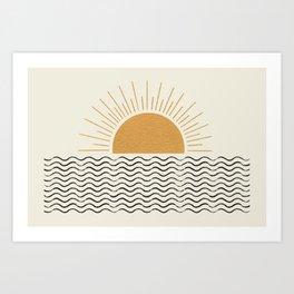 Sunrise Ocean -  Mid Century Modern Style Art Print