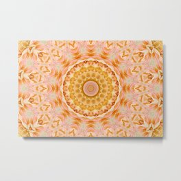 Peach Rose Mandala Metal Print