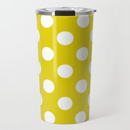 Citrine - green - White Polka Dots - Pois Pattern Travel Mug