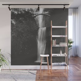 Multnomah Falls Waterfall II - Black and White Wall Mural