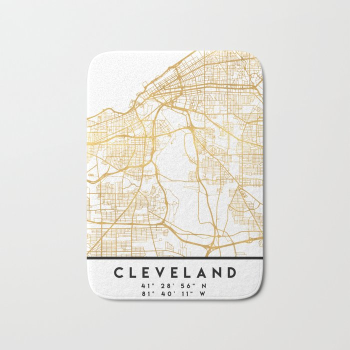 Brilliant Ohio Map.Cleveland Ohio City Street Map Art Bath Mat By Deificusart Society6