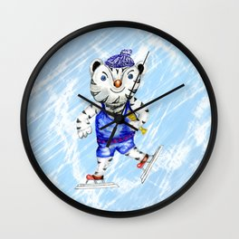 Sporty White Tiger Skating Wall Clock