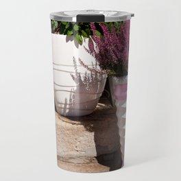 Blooming Calluna vulgaris or heather Travel Mug
