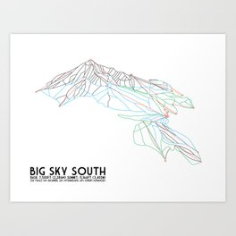 Big Sky, MT - Southern Exposure - Minimalist Trail Map Art Print