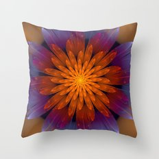 Fiery Fantasy Flower, fractal abstract Throw Pillow