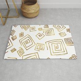 Gold Curly Cue Geometric Pattern Graphic Design Art by Megan Duncanson MADART Rug