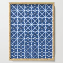 Geometric Tile Pattern Blue Serving Tray
