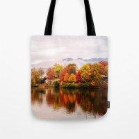 north carolina Tote Bags featuring Lake Junaluska, North Carolina by Mary Timman