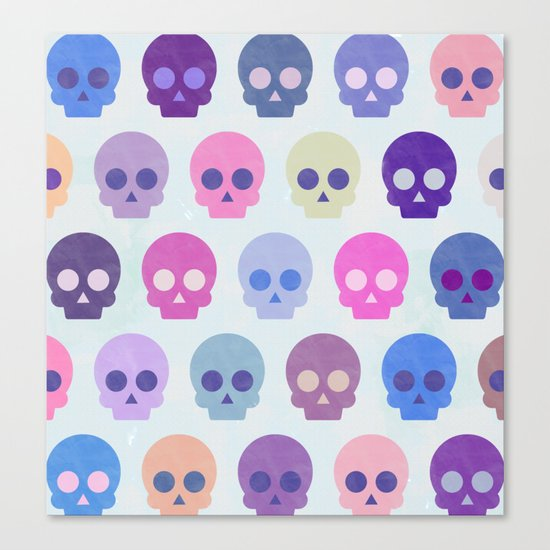 Colorful Skull Cute Pattern III Canvas Print