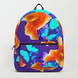 BLUE BUTTERFLIES & GOLDFISH PURPLE  ART Backpack