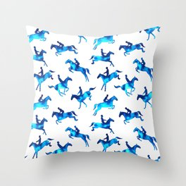 Watercolor Showjumping Horses (Blue) Throw Pillow