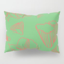 Pink Lily Flower Pattern on Sweet Green Pillow Sham