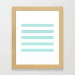 Aqua blue and White stripes lines - horizontal Framed Art Print