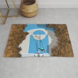 Shooting Hoops Street Basketball | Aerial Illustration Rug