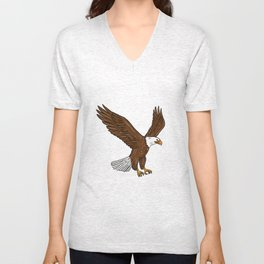 Bald Eagle Flying Drawing Unisex V-Neck