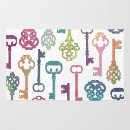 Rainbow Keys on White Rug