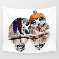 owls Wall Tapestries featuring Winter Owls by Anna Shell