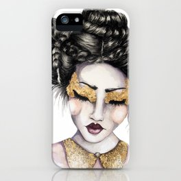 Golden Eyes // Fashion Illustration iPhone Case