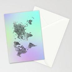 Fingerprinted World Map Stationery Cards