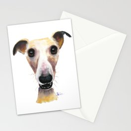 Nosey Dog Whippet Greyhound ' HOLLYWOLLY ' by Shirley MacArthur Stationery Cards