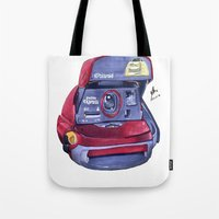 polaroid Tote Bags featuring Polaroid by Glen Howy