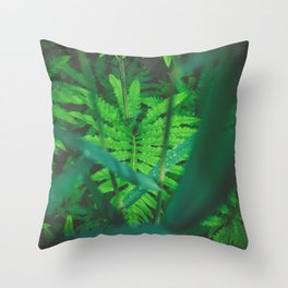 Jungle Green on a Rainy Day Throw Pillow