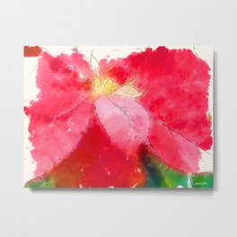 Mottled Red Poinsettia 2 Serene Metal Print