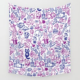 Blue and Purple Stuff Wall Tapestry