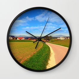 A road, a village and summer season | landscape photography Wall Clock