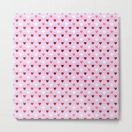 Valentines - Pink Heart Pattern Metal Print