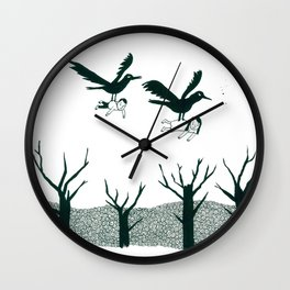 Ravens Carry You Away Wall Clock