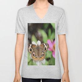 Beautiful Buckeye Butterfly Unisex V-Neck
