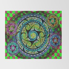 Variated Spheres #1 Psychedelic Celtic Design Throw Blanket