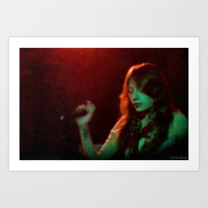 Woman Vocalist Singing in Neon Light Art Print