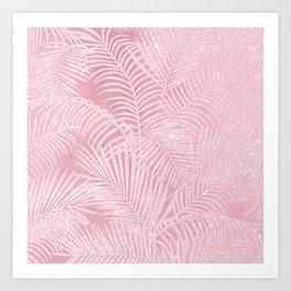 Tropical blush pink watercolor glitter floral Art Print