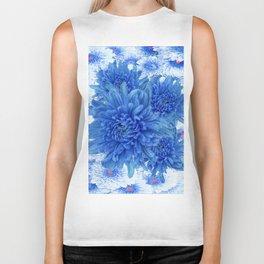 Oriental Style  Blue Chrysanthemums Garden Floral Pattern Biker Tank