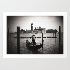 Venice Gondoliere Art Print